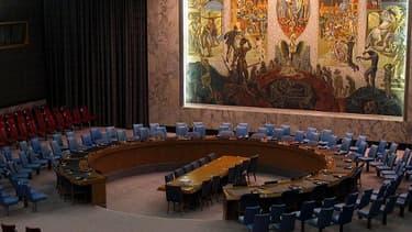 La salle de réunion du Conseil de sécurité à l'ONU.