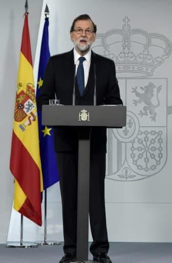 Le Premier ministre espagnol Mariano Rajoy lors d'une conférence de presse à Madrid le 1er octobre 2017