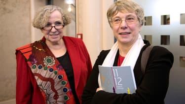 Marie-Françoise Marais (à gauche), présidente de la Hadopi et Mireille Imbert-Quaretta, présidente de la Commission de Protection des droits.