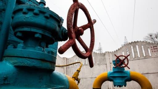 Une valve de pipeline dans une station de gaz à Kiev.