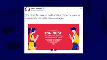 """Campagne de sensibilisation sur le """"sexting"""" diffusée par la Police nationale sur Twitter le 6 mars 2021"""