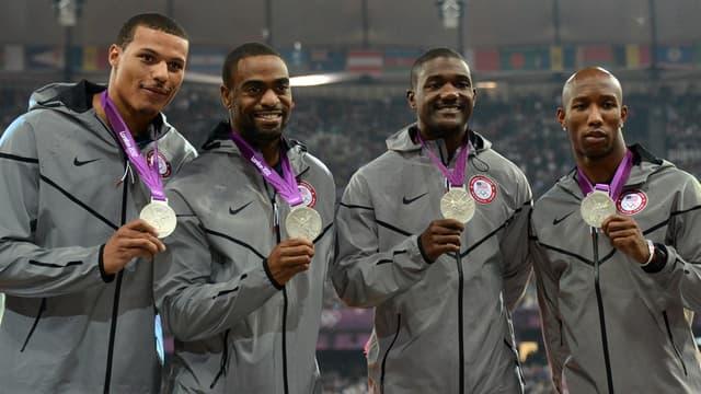 Bailey, Gay, Gatlin et Kimmons sur le podium du relais 4x100m en 2012