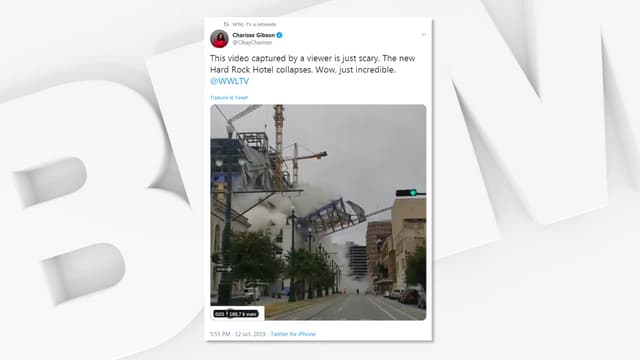 Le Hard Rock Hotel en train de s'effondrer à la Nouvelle-Orléans, le 12 octobre 2019.