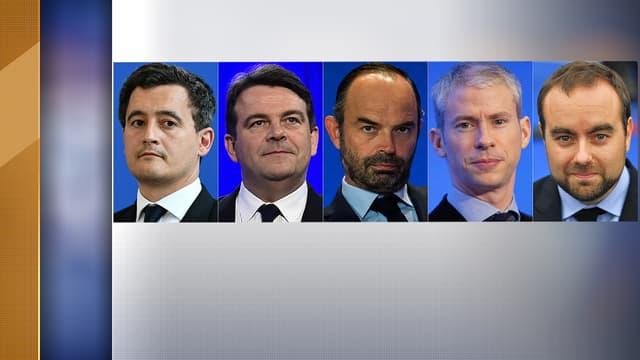 Gérald Darmanin, Thierry Solère, Edouard Philippe, Franck Riester et Sébastien Lecornu, les cinq exclus par le Bureau politique de LR.
