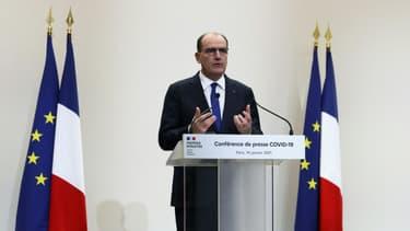 Jean Castex, lors d'une conférence de presse à Paris le 14 janvier 2021