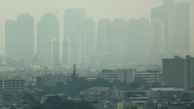 Brouillard de pollution à Jakarta, en Indonésie