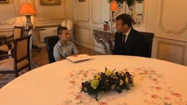 Emmanuel Macron a rencontré le jeune Malone à Quimper.