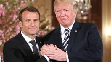 Emmanuel Macron et Donald Trump, le 24 avril 2018 à la Maison Blanche.