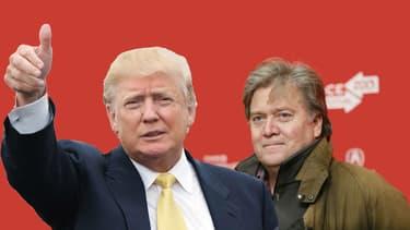 Stephen Bannon (à droite) a dirigé pendant 4 ans le site d'information vedette de la droite alternative Breitbart avant de rejoindre Donald Trump en août dernier.