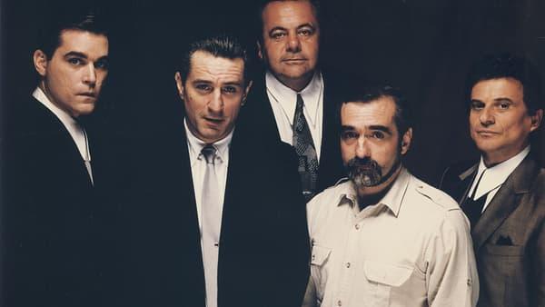 "Ray Liotta, Robert DeNiro, Paul Sorvino, Martin Scorsese et Joe Pesci, ""Les Affranchis"" (""Goodfellas""), 1990."