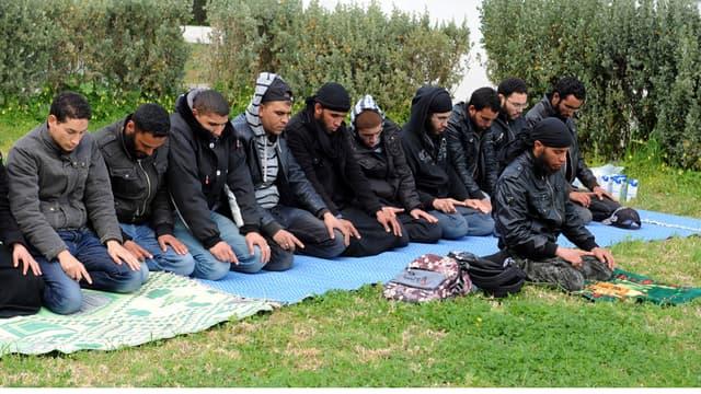 Des salafistes tunisiens en pleine prière, en 2012. (Illustration)