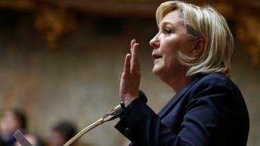 La présidente du Front National Marine Le Pen à Paris, le 14 février 2018