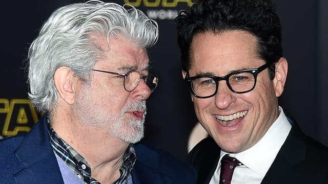 George Lucas et J. J. Abrams, lors de l'avant-première de Star Wars: Le réveil de la Force, le 14 décembre à Hollywood.