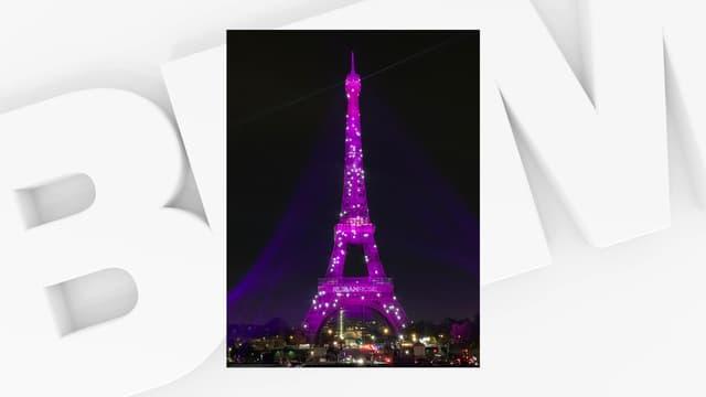 La Tour Eiffel illuminée en rose pour sensibiliser au dépistage du cancer du sein.
