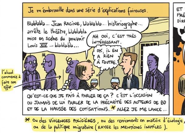 Mathieu Sapin détaillant l'idée derrière son nouvel ouvrage auprès d'Emmanuel Macron