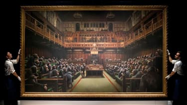 """Le tableau """"Devolved Parliament"""" de Banksy, présenté le 27 septembre dernier pendant une conférence de presse à Londres."""