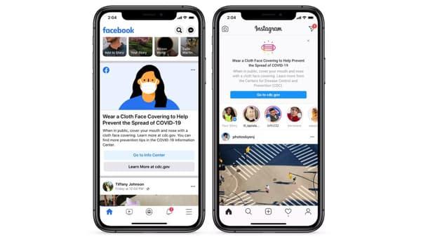Capture d'écran de Facebook et Instagram