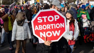 Activistes manifestant contre l'avortement à Washington, États-Unis, le 18 janvier 2019