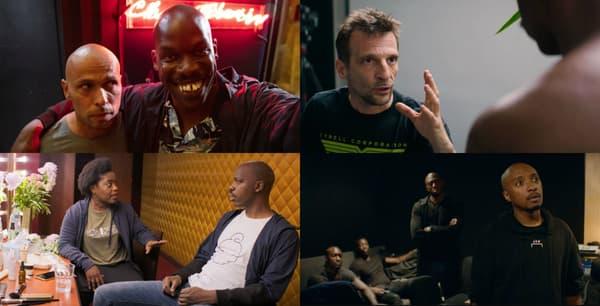 """Eric Judoc, Mathieu Kassovitz, Claudia Tagbo et Soprano dans """"Tout simplement noir"""""""