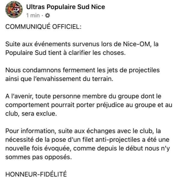 Communiqué ultras populaire sud Nice