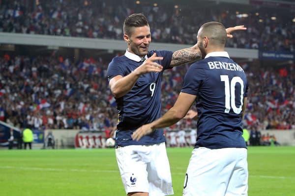 Olivier Giroud et Karim Benzema en équipe de France en 2014