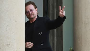 Le chanteur Bono du groupe U2, reçu à l'Élysée le 24 juillet 2017