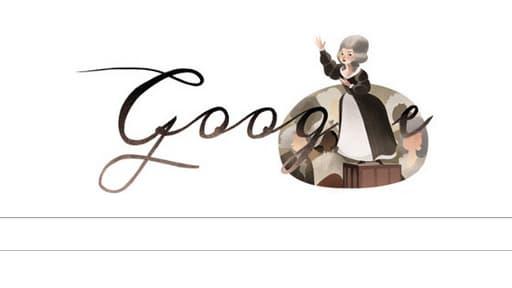 """Le """"doodle"""" de Google ce mercredi 7 mai fait honneur à la première féministe de France Olympe de Gouges."""