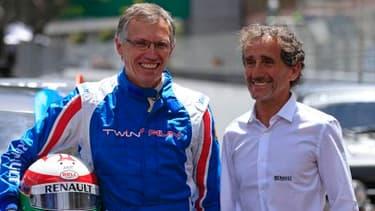 Carlos Tavares (à gauche) aux côtés d'Alain Prost (à droite), en marge du Grand Prix de Monaco de mai dernier.