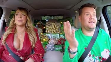 "Mariah Carey et James Corden dans le ""Carpool karaoke"""