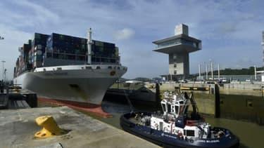 Un navire au canal de Panama le 24 mai 2017