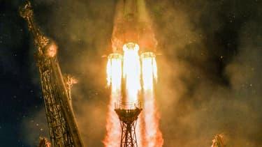 Une fusée Soyouz MS-11 au décollage du cosmodrome de Baïkonour, au Kazakhstan, le 3 décembre 2018