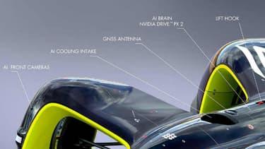 Un Lidar à l'arrière, un sur chaque côté, une caméra à 360° sur ce qui lui sert de toit, des capteurs à ultra-sons, la Robocar embarque beaucoup plus de capteurs qu'une voiture autonome classique.