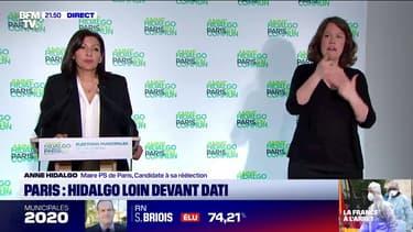 """Municipales: en tête à Paris, Anne Hidalgo salue les Parisiens qui """"se sont déplacés en nombre"""""""
