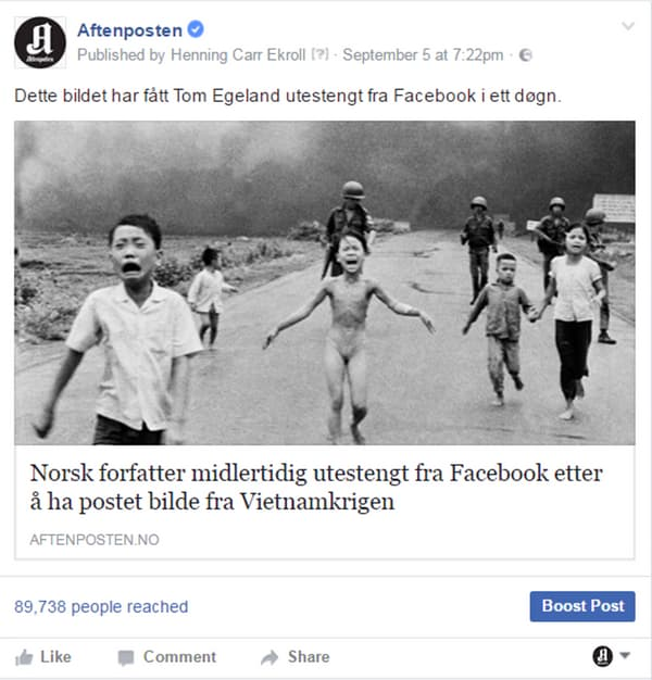 La publication supprimée par Facebook