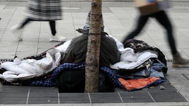 Un sans-abri à Lyon, en janvier 2017 (photographie d'illustration)