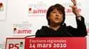 """Martine Aubry a pris la tête d'une gauche qu'elle veut """"rassemblée"""" en vue du second tour des élections régionales, appelant les électeurs à la mobilisation pour bâtir une """"France plus juste"""". /Photo prise le 14 mars 2010/REUTERS/Pascal Rossignol"""