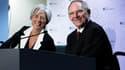 Christine Lagarde et son homologue allemand Wolfgang Schäuble, à Bruxelles. Selon la ministre française de l'Economie, les ministres européens des Finances se sont mis d'accord vendredi sur la nécessité de règles budgétaires plus strictes, lors de la prem