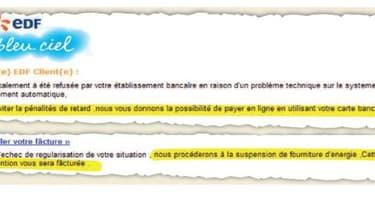 Le mail frauduleux envoyés aux clients EDF, révélé par Le Parisien le 31 janvier 2013