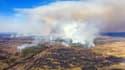 Un incendie dans la zone d'exclusion de Tchernobyl (Ukraine), le 12 avril 2020.