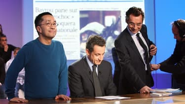 """Renaud Le Van Kim, Nicolas Sarkozy et Michel Denisot sur le plateau du """"Grand Journal"""" en 2007"""