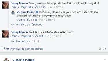 Recherché par la police australienne, il se plait sur Facebook de la qualité de la photo utilisée sur son avis de recherche.