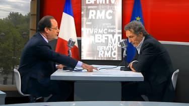 François Hollande face à Jean-Jacques Bourdin et aux téléspectateurs de BFMTV, mardi 6 mai