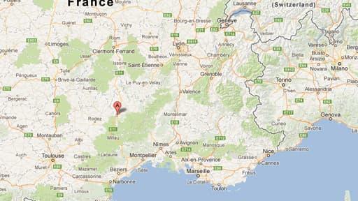 Le marqueur indique la zone du crash, sur la commune de St-Germain-du-Teil, en Lozère.