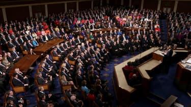 Barack Obama prononce son discours sur l'état de l'Union, le 20 janvier 2015, au Capitole.