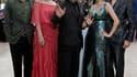 """Le cinéaste chinois Wang Xiaoshuai (au centre) entouré de Qing Hao, Fan Bingbing, Li Feier et Zi Yi (de gauche à droite) pour la présentation à Cannes du film """"Rizhao Chongqing"""" (Chongqing Blues). Projeté jeudi, ce film est la première entrée asiatique da"""