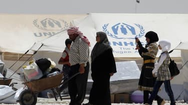 Un camp de réfugiés syriens à Mafraq, en jordanie, près de la frontière syrienne. Francois Hollande a promis dimanche d'amplifier l'aide de la France à la Jordanie, qui fait face à un afflux massif de réfugiés tentant d'échapper à la guerre civile en Syri