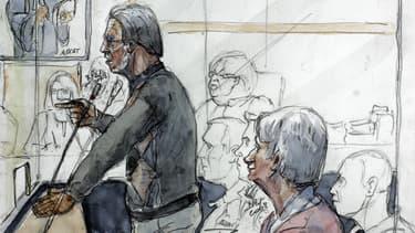 Dessin de Michel Fourniret et de son ex-épouse Monique Olivier à la barre  du tribunal de Charleville-Mézières en mai 2008.