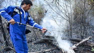 Evo Morales vient en aide aux pompiers qui luttent contre les feux de forêt, dans l'est de la Bolivie