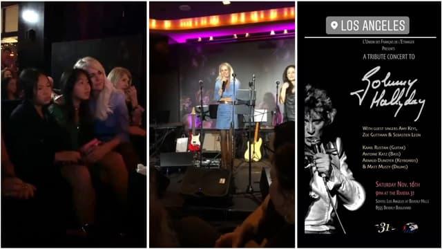 Laeticia Hallyday et ses filles à un concert rendant hommage à Johnny