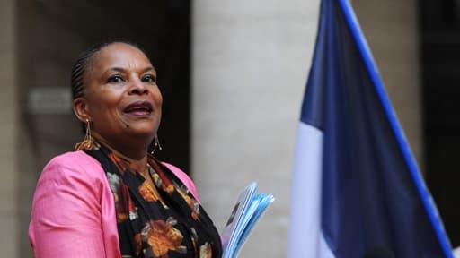 Christiane Taubira lors d'une visite au tribunal d'Aix-en-Provence, le 11 octobre.